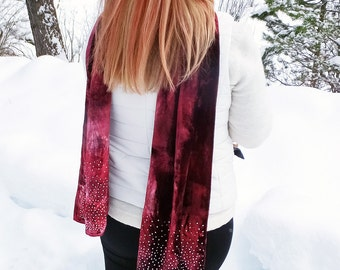Womens scarves, burgundy velvet scarf, jeweled scarf, sparkly scarf, rhinestone scarf, luxe fashion, bling scarf, maroon, hand dyed, 13x59