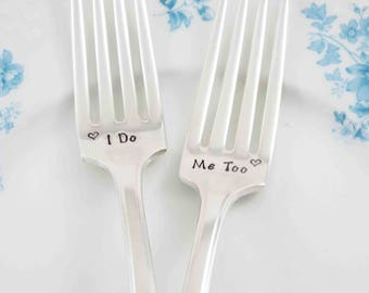 I Do Me Too Forks, Wedding Forks, Wedding Gift, Vintage Forks, Wedding Fork Set, Wedding Silverware, Wedding Keepsake, Wedding Present