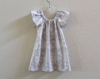 New! Little Girls Silver Christmas Dress - Silvery Grey Dress with Christmas Trees - Girls Flutter Sleeve Dress - Size 12m through Size 8