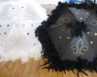 "Bride and Groom New Orleans Wedding Second Line Umbrellas- set of 2- MEDIUM 19"" size- GOLD ACCENTS- hand painted fleur de lis, sequins, boa"