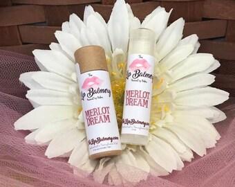 Merlot Dream Natural Lip Balm - Eco-Friendly Push Up Tube or Regular Twist Up Tube - Wine