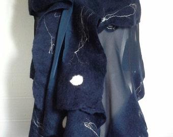 Merino wool silk scarf, silk neck nunofeltro technique, siarpa, night