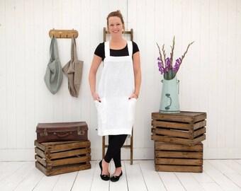Cross Back Apron - Japanese Apron - Linen Apron - Pinafore Apron - Linen Tunic - Linen Dress - Artists Apron - Kitchen Apron