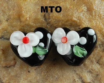 Glass Lampwork Beads,  Made To Order, Hearts, Flowers, Earring Beads SRA #659 by CC Design
