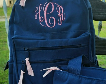 Monogrammed Backpack and Lunchbox // Personalized Girls Backpack Lunchbox (B4)