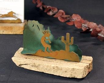 Business Card Holder - Patina Metal and Sand stone - Kokopelli