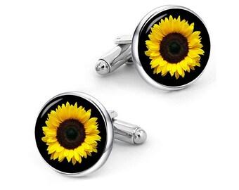 Sunflower Flower Cufflinks custom own flower cufflinks sunflower cuff links personalized cufflinks custom wedding cufflinks groom cufflinks
