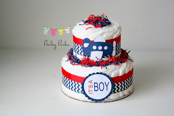 Airplane Diaper Cake Airplane Baby Shower Chevron Baby