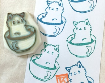 ALPACA IN CUP - Hand Carved Rubber Stamps/Shower/Hot Spring