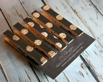 Black Polka Dot Clothespin Magnets, Set of 5