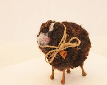 Black Fuzzy Needle Felted Sheep, Felted Black Sheep, Black Sheep of the Family #3339