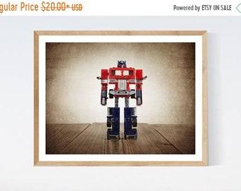 FLASH SALE til MIDNIGHT Vintage Transformer Optimus Prime on Vintage Brown Background, Photo Print, Boys Room, Boys Wall Art, Boys Decor, Pl