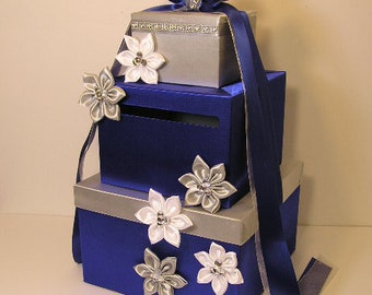 Wedding Card Box Royal Blue and Silver/White Gift Card Box Money Box  Holder--Purple and Silver or Customize your color