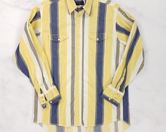 Vintage Wrangler Pearl Snap Yellow Blue White Striped Western Shirt, Mens Large