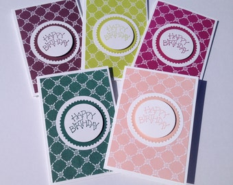Happy Birthday Card Set - Birthday Card Set - Handcrafted Cards - Set of 5 Cards - Note Cards