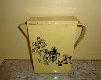 Charming Yellow Mid Century Hand Painted Folk Art Tin Vintage Laundry Soap Pitcher Holiday Gift