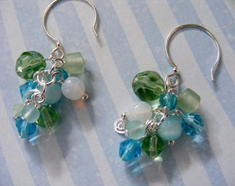 Beaded Cluster Earrings in Green and Turquoise
