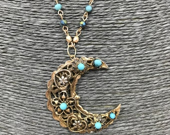 Vintage antique Gold and turquoise crescent moon pendant necklace