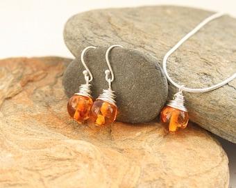 Amber jewellery gift set, jewellery gift set, amber jewellery, gift for mum, Christmas gift set, sterling silver