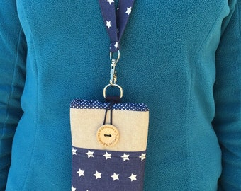 Blue phone case Lanyard, Stars Fabric phone Pouch Lanyard, Padded phone sleeve, Fabric phone wallet case, Cell phone bag lanyard