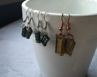 Tiny Circuit Board Dangle Earrings, Nickel Free, Computer Earrings, Nickel Free Earrings, One of a Kind Jewelry, Gift for Her Idea - D85