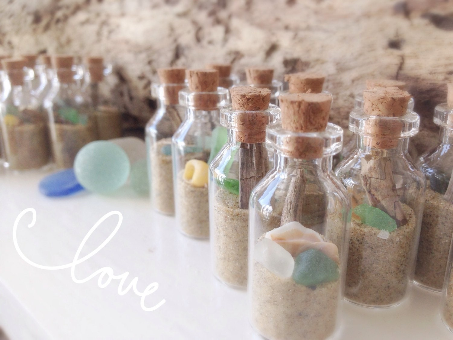 Beach Wedding Party Place Card Holders Mini Beach in a bottle