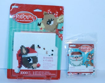 2 Perler Fused Bead Kits Rudolph The Red Nose Reindeer New Great kids craft
