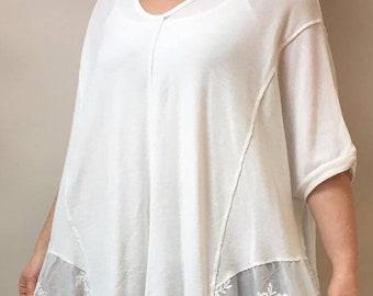 LAGENLOOK italian fine knit top 10-22uk- IVORY