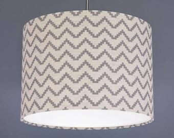 Boho Grey Zig Zag Linen Fabric Drum Lampshade Pendant