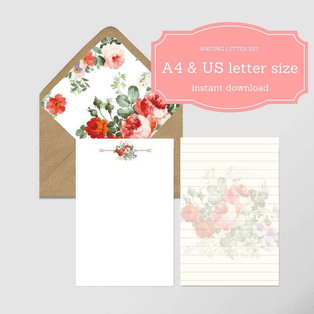 Letter Writing Set  Sheets A  Us Letter Size  Envelope Liner A