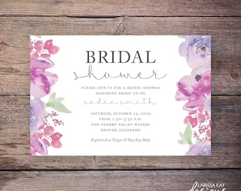 Watercolor Floral Bridal Shower Invitation, Flowers, Floral, Wedding Shower Invite, Flower, Party, Wedding DiY Printable - Sadie
