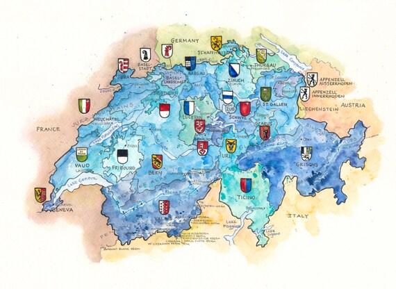 Switzerland Map Art Canton Map Bern Zurich Geneva Lucerne