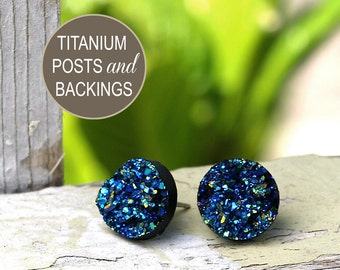 Faux Druzy Titanium Post Earrings - Black Glitter Blue and Teal Sparkles, 12mm Glitter Faux Drusy Studs