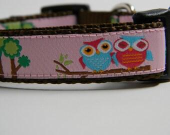 Owl Dog Collar- Owl Friends Pink