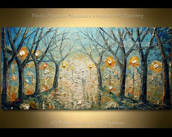 Painting on canvas Palette Knife Modern Foggy Day Landscape by Nizamas wall decoration