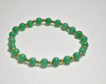 Vintage Vermeil Gold Over Sterling Silver Natural Green Jade Jadeite Bead Stretchy Bracelet