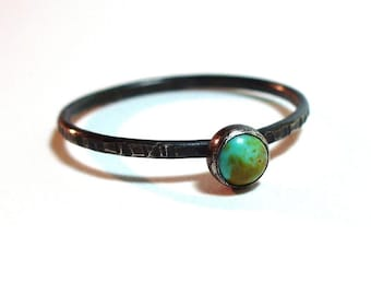 Tiny Turquoise Ring - December Birthstone - Sterling and Fine Silver - Blackened.  Also available in Shiny or Satin Matte