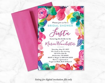 Fiesta Wedding Shower Invitation, Bright Watercolor Bridal Shower Invitation, Mexican Fiesta Bride to be, Modern Bridal Invite