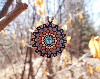 Hand Painted, One of a Kind Mandala Pendant