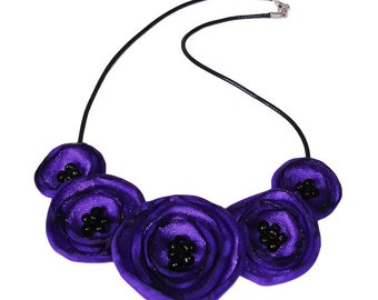 Purple Fabric Poppy Necklace