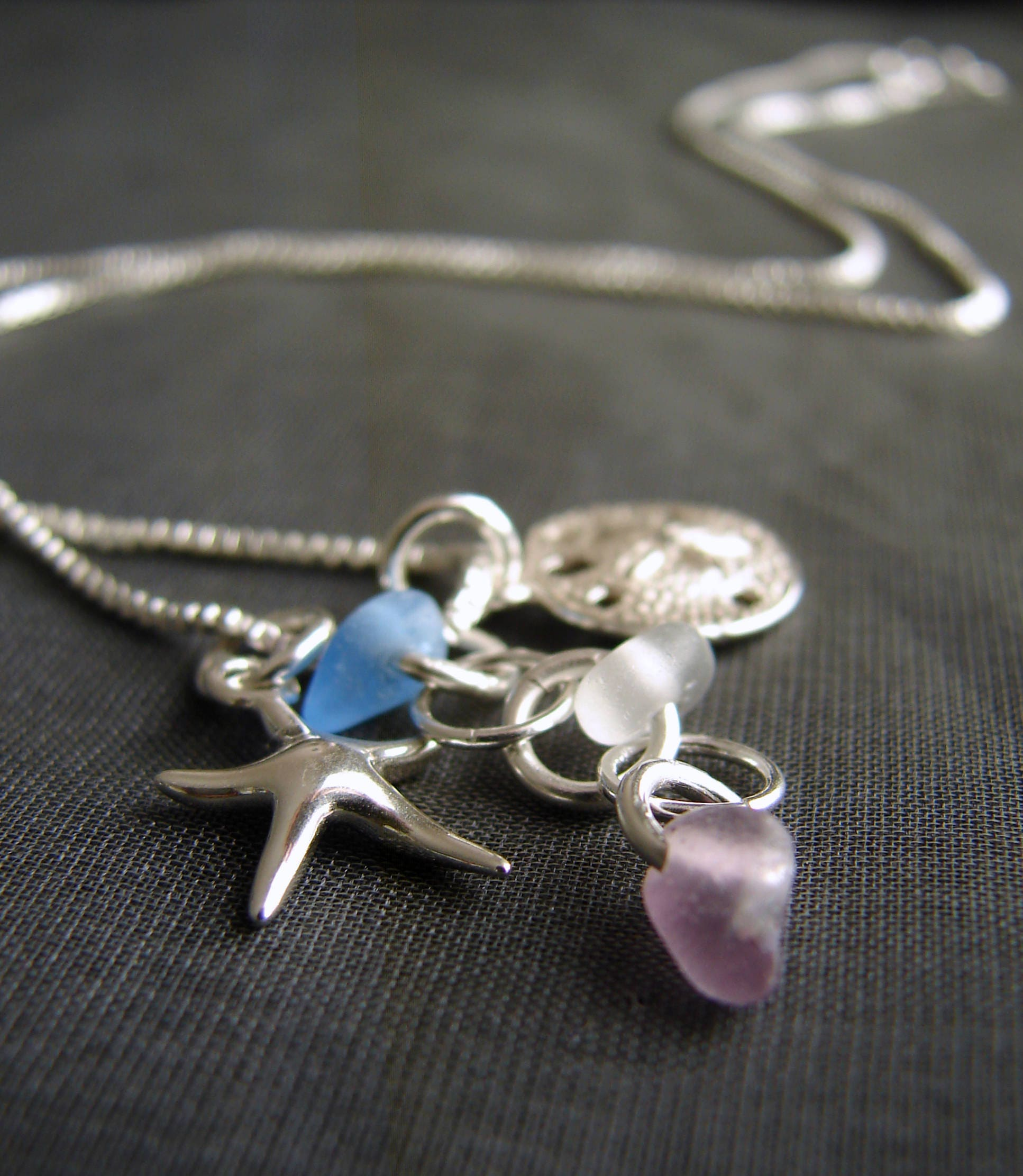 Ocean Sea Glass Necklace In Blue White And Purple