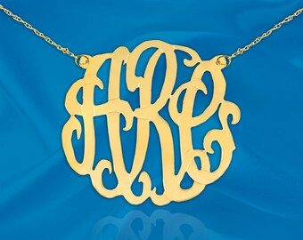 Monogram Necklace 1.5 inch 24K Gold Plated Sterling Silver Handcrafted Personalized Initial Necklace - Made in USA