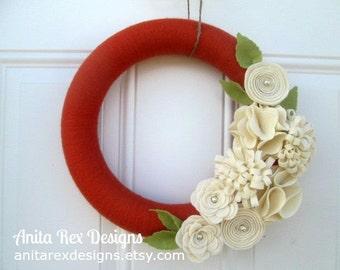 Fall Yarn Wreath, Orange Yarn Wreath, Yarn Wreath, Handmade Felt Flower Wreath