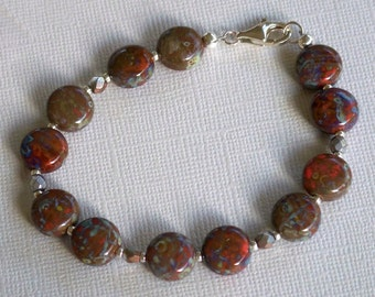 Red, Blue, and Brown Czech Glass Puffed Disk Beads Bracelet & Earring Set by Carol Wilson of Je t'adorn