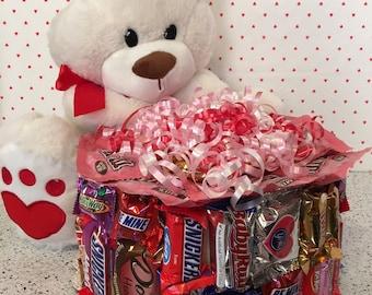 Valentine Candy Bar Cake with a Valentine Teddy Bear