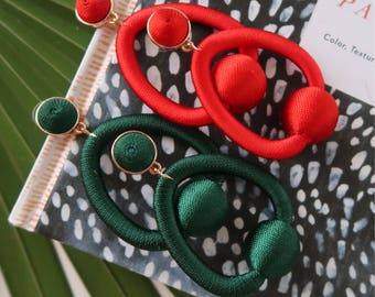 Bon Bon Style Holiday Hoops, Red and Emerald Green