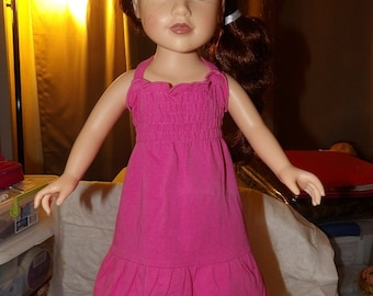 Dark pink knit dress with rousched top and ruffled hemline for 18 inch Dolls - ag245