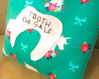 Tooth for Sale! Magical Custom Tooth Fairy Pouch Pillow