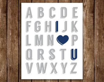 Alphabet I LOVE YOU Print - DIY Printable 8x10 (Grey & Navy)