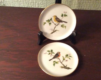 Vintage Set of 2 Porcelain Kaiser Coasters Hand Painted Birds
